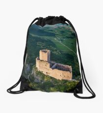 Old medieval fortress Ortenbourg aerial view from drone Drawstring Bag