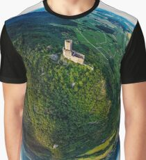 Little planet view of castle Ortenbourg in Alsace, France.  Graphic T-Shirt