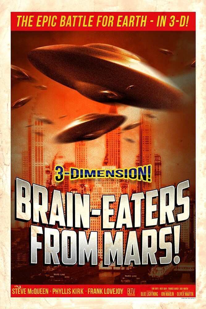 """Brain-Eaters from Mars"" Vintage, Movie Poster by BLTV"