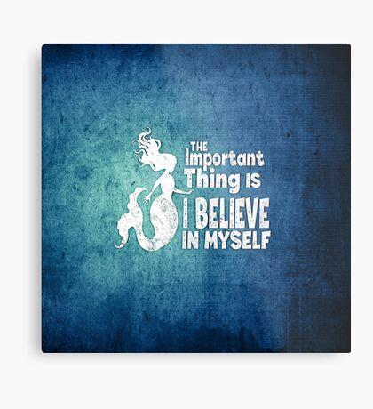 Mermaid - The Important Thing Is I Believe In Myself - Grunge Denim Metal Print
