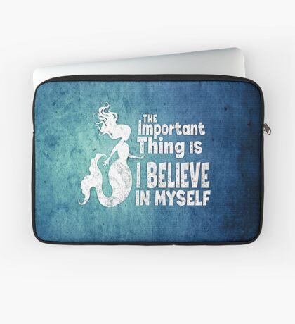 Mermaid - The Important Thing Is I Believe In Myself - Grunge Denim Laptop Sleeve