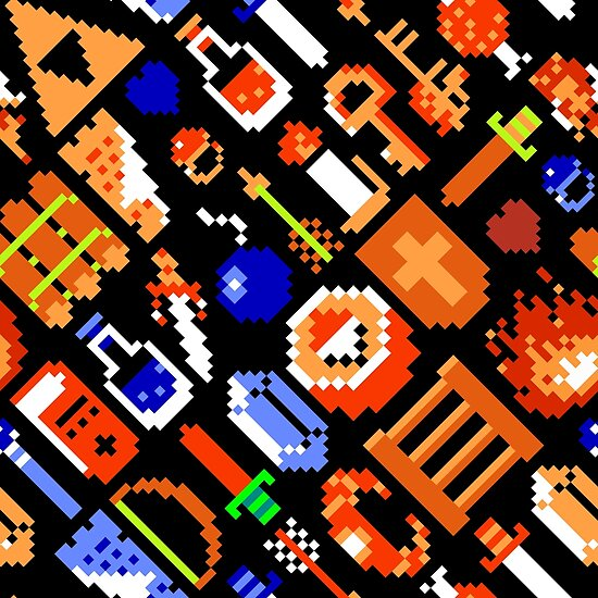 Legend of Zelda NES / items 02 / pattern / black by geekeeg