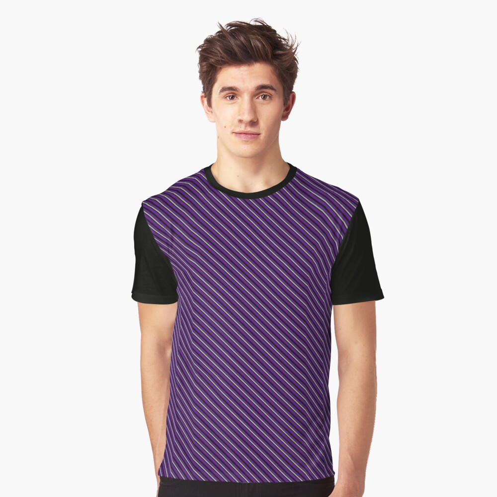 Stripes - Violet and Pewter Graphic T-Shirt Front
