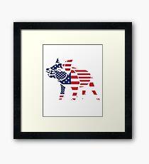 Pig USA Flag Red White Blue Stars Stripes  Framed Print