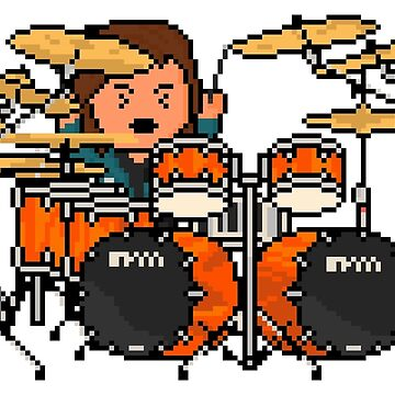 Rock Battle Metal Pixel Drummer Playing Hard by gkillerb