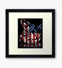 Cat USA Flag Red White Blue Stars Stripes  Framed Print