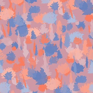 Forest Pattern in Mauve, Coral and Blue by Theysaurus