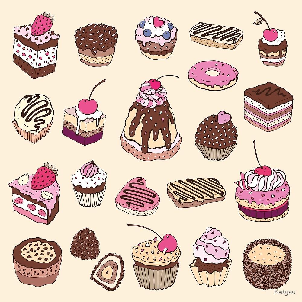 Yummy colorful Cupcakes by Katyau