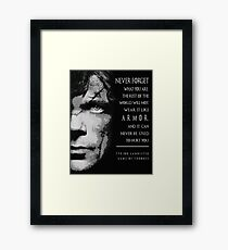 Tyrion Lannister with quote Framed Print