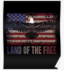 American Flag and Eagle Land of the Free Patriotic Design Poster