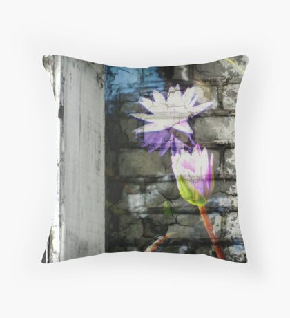 Lillies on wall 1 Throw Pillow