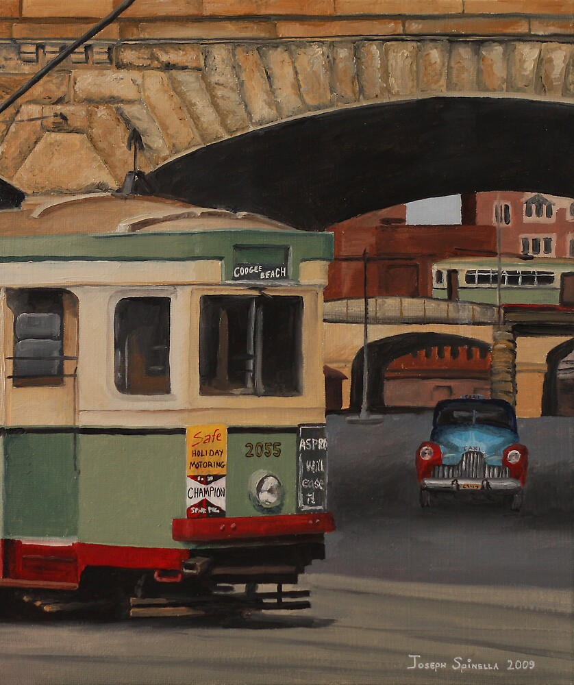 Trams & The Colonnade by Joseph Spinella