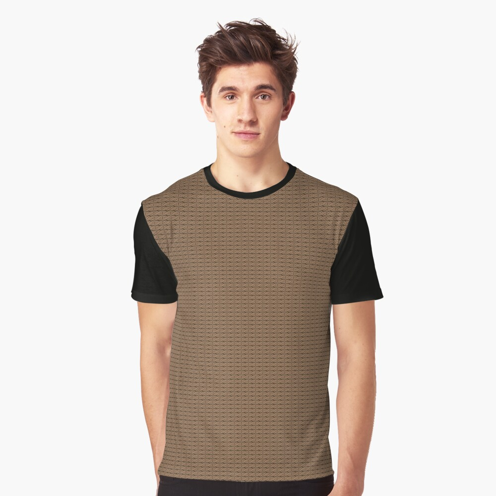 Simple Knotwork in Tan on Brown Graphic T-Shirt