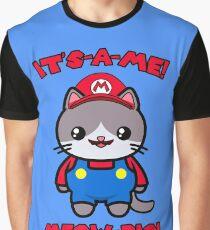 Cute Cat Funny Kawaii Mario Parody Graphic T-Shirt