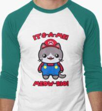 Cute Cat Kawaii Funny Mario Parody Men's Baseball ¾ T-Shirt