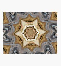 Metallic Gold Silver Mandala Style Design - Fluid Nature Photographic Print