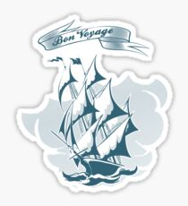 Sail Ship Emblem in Retro style Sticker