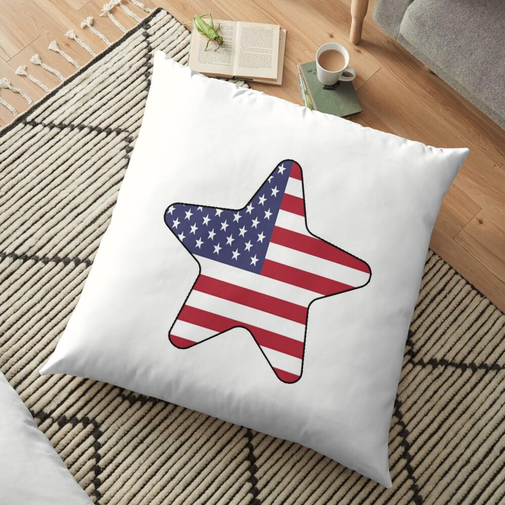 American Flag Starfish Happy 4th of July Cojines de suelo
