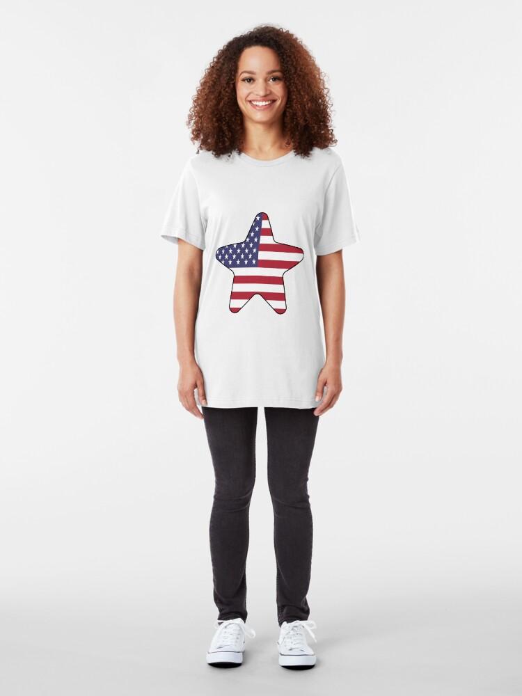 Vista alternativa de Camiseta ajustada American Flag Starfish Happy 4th of July