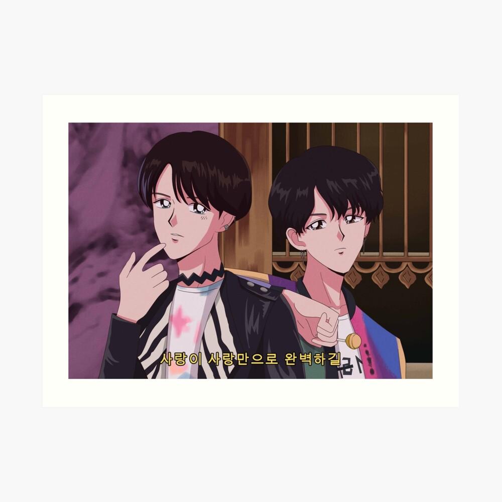 Bts suga j hope fake love 90s anime art print