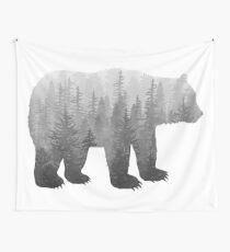 Tela decorativa Misty Forest Bear - Blanco y negro