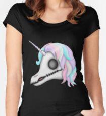 My Little Dead Unicorn | Rainbow Unicorn Skull | Black Fitted Scoop T-Shirt