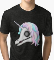 My Little Dead Unicorn | Rainbow Unicorn Skull | Black Tri-blend T-Shirt