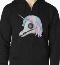 My Little Dead Unicorn | Rainbow Unicorn Skull | Black Zipped Hoodie