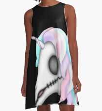 My Little Dead Unicorn | Rainbow Unicorn Skull | Black A-Line Dress