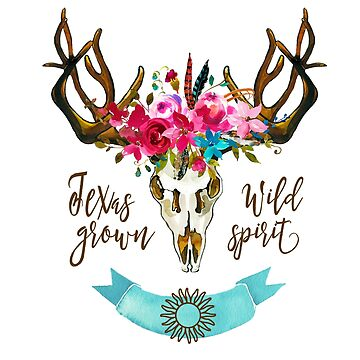 Texas Home Grown Pride, Boho, Bohemian Floral Skull Hippie Girl Gifts by STYLESYNDIKAT