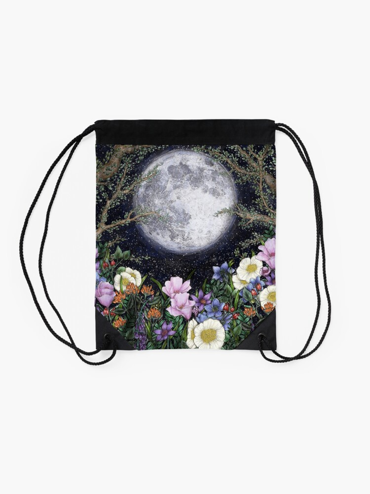 Alternate view of Midnight in the Garden II Drawstring Bag