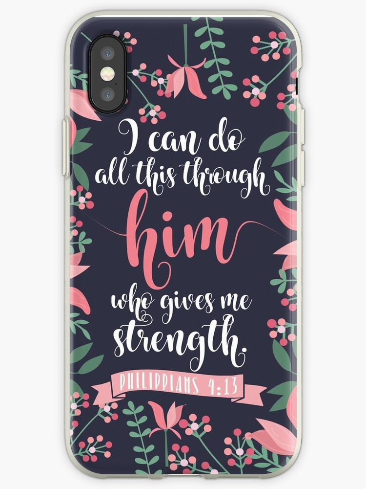 Pink Floral Flower Print Framed Background Philippians 4:13 Bible Verse by JakeRhodes