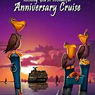 Wishing you a wonderful anniversary cruise pelican on poles cute tropical cartoon art greeting card by Walt Curlee