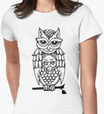 Owl Illustration Women's Fitted T-Shirt