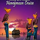 Wishing you a wonderful honeymoon cruise pelican on poles cute tropical cartoon art greeting card by Walt Curlee
