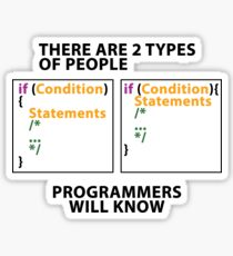 There are 2 types of people! - coding version Sticker