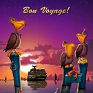 Bon Voyage, pelican on poles cute tropical cartoon art greeting card by Walt Curlee