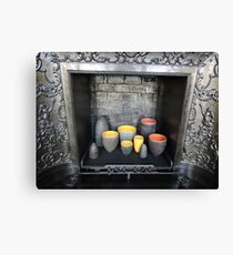Colourful Ceramics in Fireplace Canvas Print