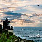Boats Off Castle Hill Lighthouse by Nancy Richard