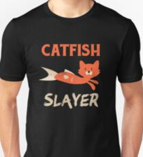Catfish Slayer Fishing Cat Head Fish Body Fisherman Unisex T-Shirt