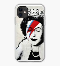 Banksy UK England Queen Elisabeth with David Bowie rockband face makeup iPhone Case