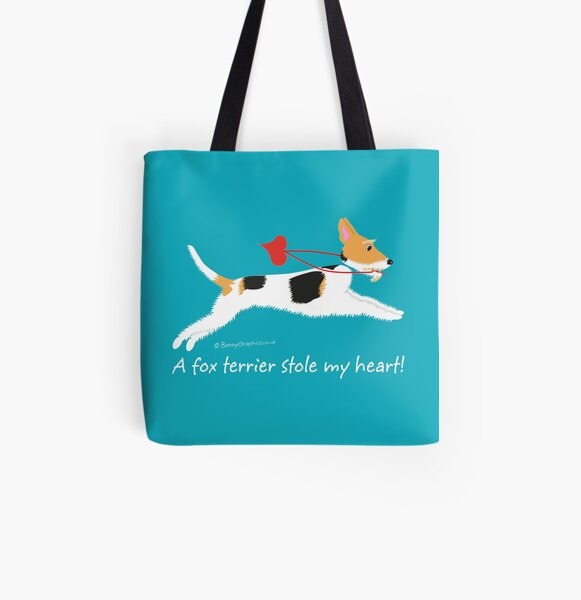 """A fox terrier stole my heart!"" (wire haired fox terrier) All Over Print Tote Bag"