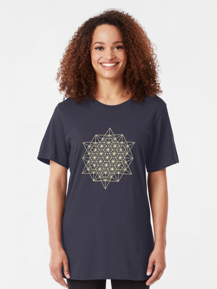 Alternate view of 64 Tetrahedrons 2D Sacred Geometry  Slim Fit T-Shirt
