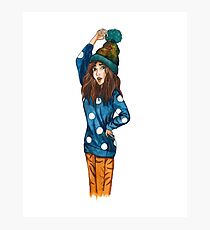 Funny girl with hat Photographic Print