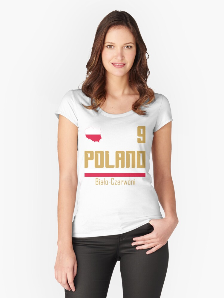 Poland Soccer Jersey 2018 World Football Cup Gift Fan Shirt Women s Fitted  Scoop T-Shirt 179f964d24