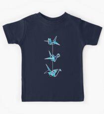 Aqua Blue Paper Cranes Kids Tee