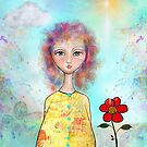 Whimsical Girl with colorful wavy hair by fotografixgal