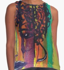 Abstract Painting Curly Haired Girl Contrast Tank