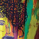 Abstract Painting Curly Haired Girl by CrazyCraftLady