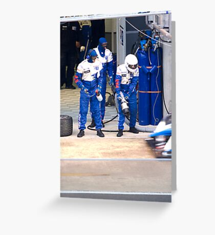 Pit stop for the Peugeot 908 HDI Greeting Card